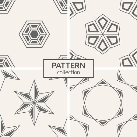 Set of four seamless patterns. Abstract geometric trendy vector backgrounds. Modern stylish textures of six-pointed stars, triangular shapes, hexagons. Repeating geometric tiles. 版權商用圖片 - 143101030