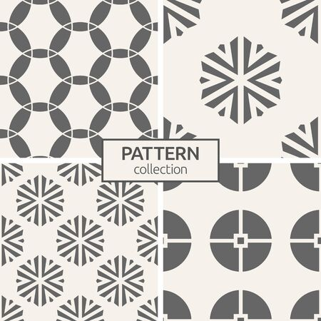 Set of four seamless patterns. Abstract geometric trendy vector backgrounds. Modern stylish textures. Ornate triangular shapes forming hexagons. Geometric ornaments. Circles.