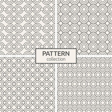 Set of four seamless patterns. Abstract geometric trendy vector outline backgrounds. Modern stylish textures of circles. Linear style. Modern ornamental motifs. 版權商用圖片 - 143101038