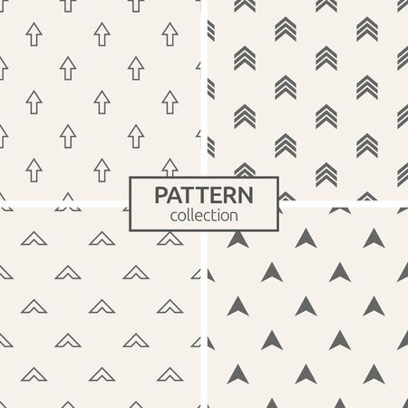 Set of four seamless patterns. Abstract geometric trendy vector backgrounds. Modern stylish textures of arrows, points. Repeating geometric ornaments. 版權商用圖片 - 143101039