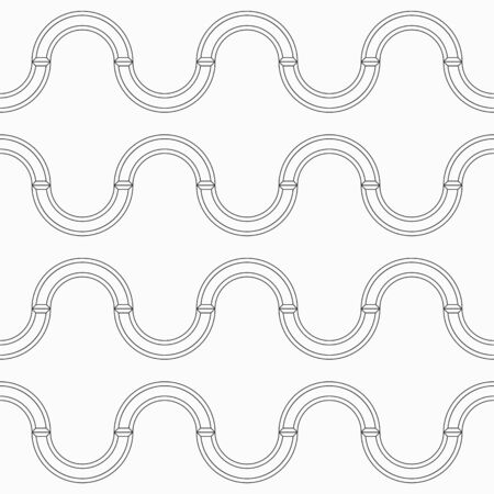 Abstract seamless waving pattern, isolated on white background. Repeating geometric smooth shapes, ornament, arcs. Modern stylish texture. Vector monochrome background.