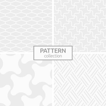 Set of four abstract geometric seamless patterns. Modern stylish background. White and gray geometric textures. Regularly repeating smooth swirling shapes, inclined stripes, hexagon tiles.