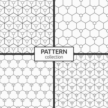 Ensemble de quatre motifs abstraits d'hexagones sans soudure. Texture élégante moderne. Petits hexagones reliés par des lignes. Répétition de carreaux géométriques avec des éléments triples. Arrière-plans monochromes de vecteur.