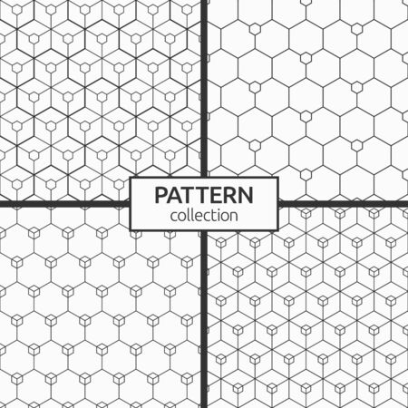 Set of four abstract seamless hexagons patterns. Modern stylish texture. Small hexagons connected with lines. Repeating geometric tiles with triple elements. Vector monochrome backgrounds.