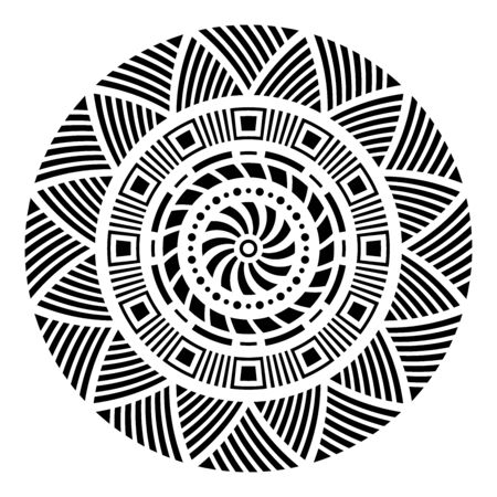 Abstract circular ornament. Ethnic mandala. Stylized sun symbol. Rosette of geometric elements. Tribal ethnic motif. Stencil tattoo and prints. Round  pattern. Decorative vector design element.