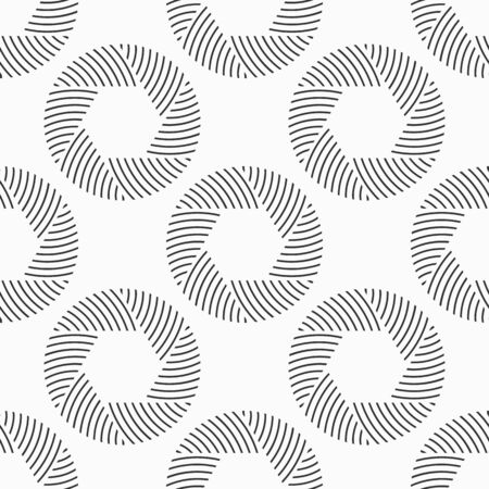 Abstract seamless pattern of repeating round striped circular ornaments isolated on white background. Camera lens aperture icons. Vector monochrome illustration.