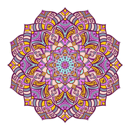 Mandala. Decorative round ornament. Isolated on white background. Arabic, Indian, ottoman motifs. For cards, invitations, t-shirts. Vector color illustration. Vektoros illusztráció