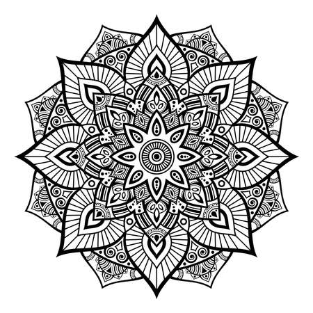 Mandala. Decorative round ornament. Isolated on white background. Arabic, Indian, ottoman motifs. Picture for coloring. For cards, invitations, t-shirts. Vector monocjrome illustration.