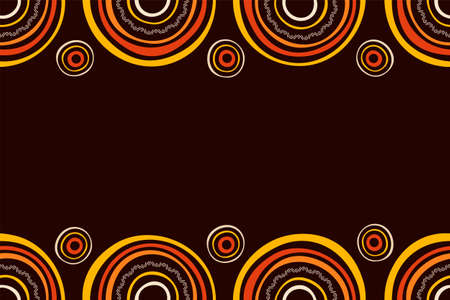Australian aboriginal seamless horizontal border pattern with circles, crooked stripes, isolated on brown background. Endless stylish texture. Ethnic texture. Space for text. Vector color background.