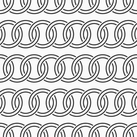 Abstract seamless circles chain pattern. Decorative geometric interlaced horizontal lines. Repeating round shapes. Vector monochrome background.