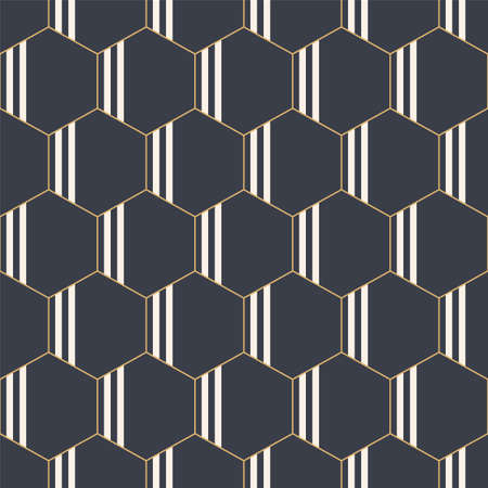 Abstract seamless geometric pattern of hexagons with vertical stripes inside. Fashion geometrical pattern. For fashion textile, cloth, backgrounds. Vector color background.