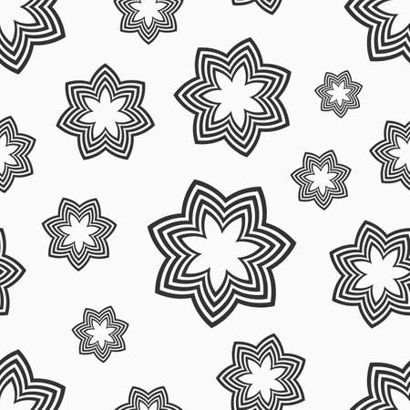Abstract floral seamless pattern.Texture with flowers, geometric shapes, isolated on white background. Floral pattern. Vector monochrome background.