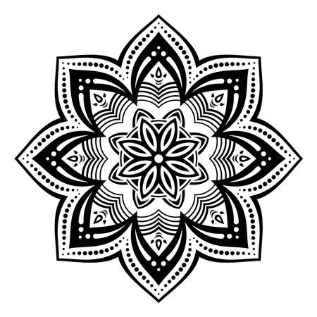 Mandala. Decorative round ornament. Isolated on white background. Arabic, Indian, ottoman motifs. Picture for coloring. For cards, invitations, t-shirts. Vector monochrome illustration.