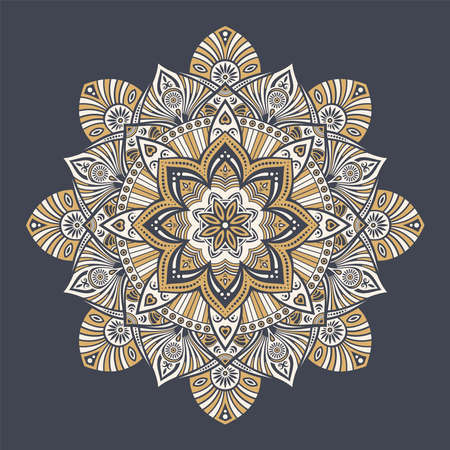Mandala. Decorative round ornament. Isolated on dark background. Arabic, Indian, ottoman motifs. For cards, invitations, t-shirts. Vector color illustration.