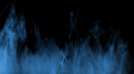 Digital illustration art. Skulls in the fog.