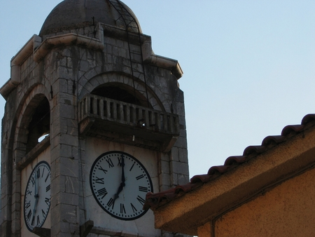 Old clock tower at Dimitsana town in Peloponnese Greece Stok Fotoğraf