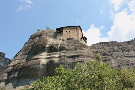 Monastery of St. Nicholas Anapausas in Meteora rock formation Kalambaka Greece 免版税图像