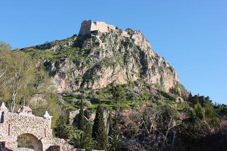 Palamidi castle on the hill above Nafplio city in Greece