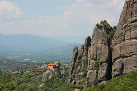 Monastery of St. Nicholas Anapausas in Meteora rock formation Kalambaka Greece