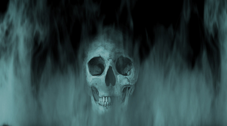 Digital illustration art. Skull into the smoke. Stock Photo