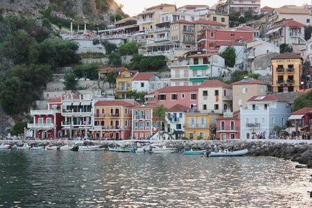 Beautiful colorful view of Parga harbour Epirus Greece