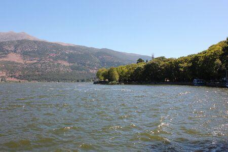 Landscape of Lake Pamvotida in Ioanina Greece
