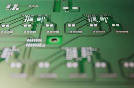 Closeup of electronic circuit board or PCB printed circuit board