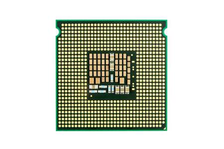 computer cpu: Computer CPU chip close up white background
