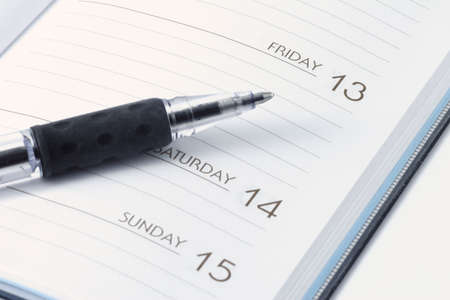 13th: Date Book for meetings for Friday the 13th