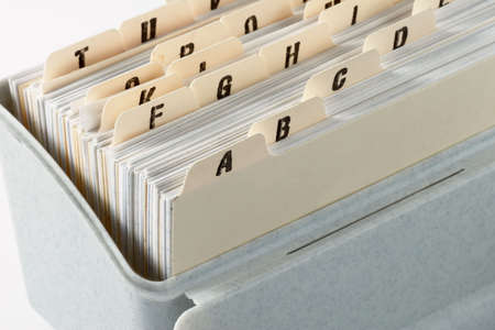 addresses: Card file in alpabetical order of addresses Stock Photo