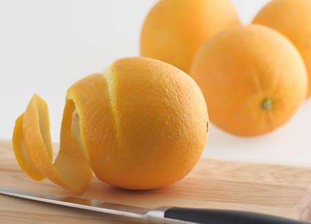 florida citrus: fresh florida navel ogange peel knife fruit citrus organic Stock Photo