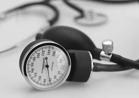 sphygmomanometer stethoscope medical tool pressure measure instrument Stock Photo