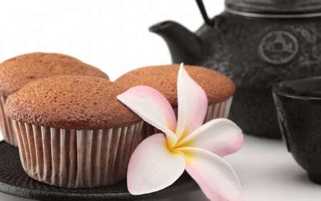 teacake: cakes tea teapot flower breakfast isolated teacake