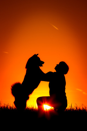 lovingly: A woman is kneeling outside in the grass, lovingly hugging with her Akita Inu dog, silhouetted against the sunsetting sky Stock Photo