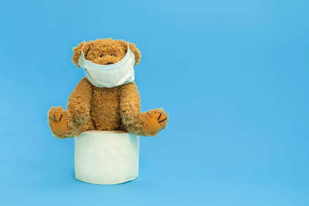Teddy bear wearing face mask and sitting on a toilet paper roll on blue background, copy space. Items most wanted during Coronavirus pandemic