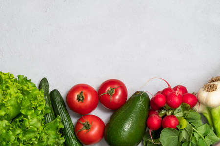 Flat lay of fresh vegetables with copy space. Clean eating, alkaline diet, vegetarian concept