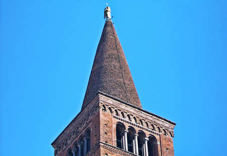 piacenza: Piacenza Cathedral tower in the blue sky