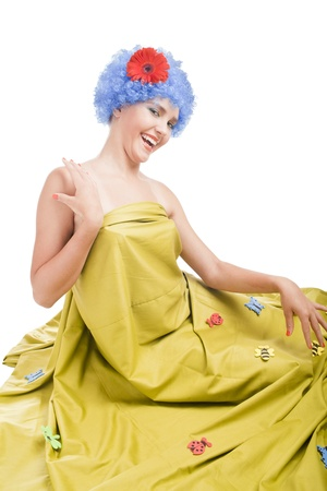 positive caucasian girl with blue hair photo