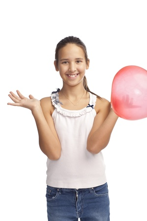 smilling: isolated on a white smilling caucasian girl with red baloon  Stock Photo