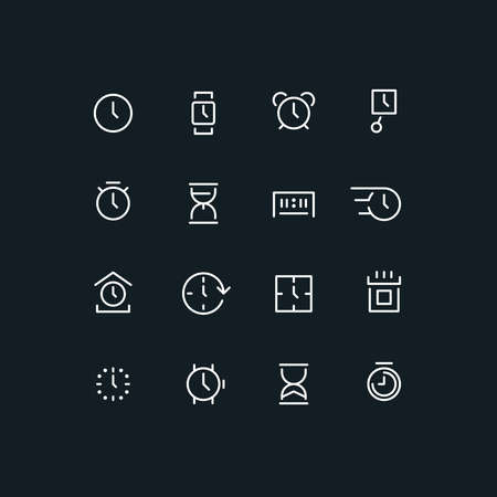 sand watch: Set of different time icons. Clock, watch, calendar, sand watch, chronometer. Line art vector illustration. Clock set. Clock line icon. Clock  . Clock interface icon. Clock app icon