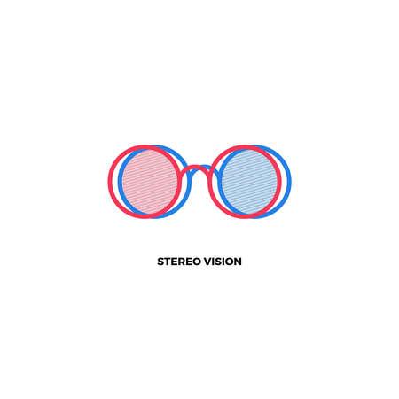 stereoscopic: 3D glasses. Stereoscopic glasses. 3D logo. 3D movie logo. Stereo logo. Red and blue glasses logo. Stereoscopic glasses logo. Stereoscopic icon. Cinema logo. 3D cinema logo. 3D cinema icon