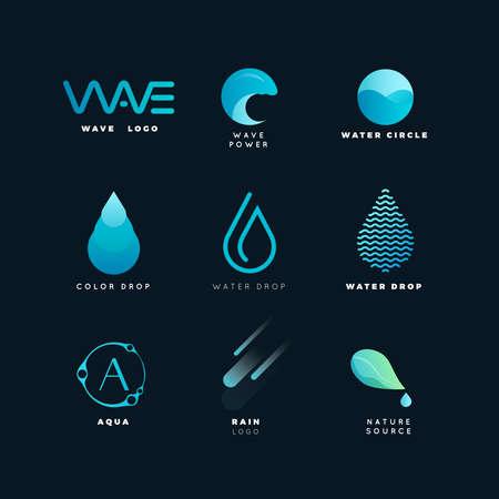 Abstract logo. Water logo. Wave logo. Geometric logo. Water line logo. Nature logo. Nature elements logo. Water vector logo. Water energy logo
