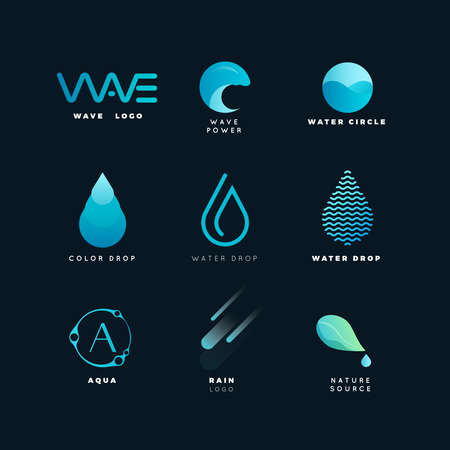 Abstract logo. Water logo. Wave logo. Geometric logo. Water line logo. Nature logo. Nature elements logo. Water vector logo. Water energy logo Illustration