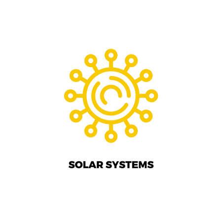 Sun line logo.  Simple vector logo of solar power. Alternative energy source logo. Renewable energy. Sun technology logo