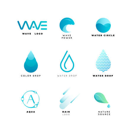 Abstract logo. Water logo. Wave logo. Geometric logo. Water line logo. Nature logo. Nature elements logo. Water vector logo. Water energy logo Vectores