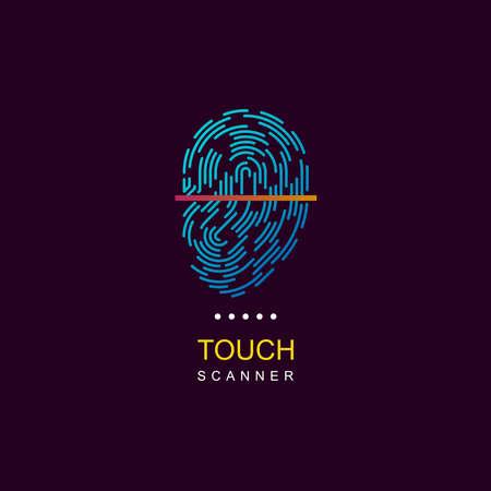 Fingerprint scanner. Vector fingerprint logo. Fingerprint icon. Fingerprint web logo. Fingerprint scanner logo. Personalization logo. ID logo. Fingerprint lock logo.