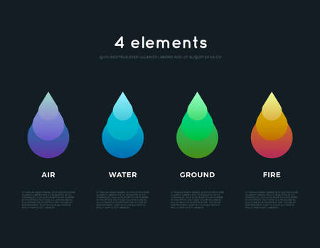 alternative energy sources: Nature elements. Water, Fire, Earth, Air. Infographics elements on dark background. Templates for renewable energy or ecology logos, emblems or cards. Alternative energy sources