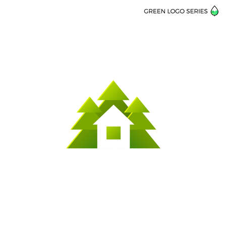 eco icon: Green house logo. Eco house vector illustration. Logo for house building, green house, real estate company. Illustration