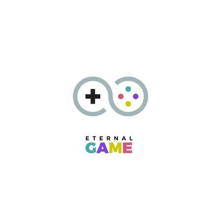 logotipo de mando de juegos. Gamepad vector logo. logotipo de la palanca de mando. Vector de la insignia joystick. logo del juego. Insignia juego de vector. logotipo del videojuego. Vector de la insignia de videojuegos