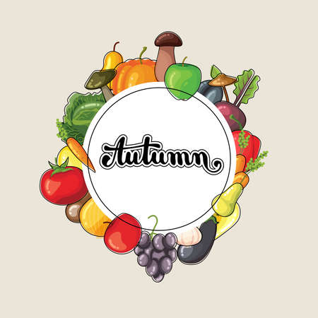 Autumn lettering with fruits and vegetables. Flat vector illustration. Fruits and vegetables for menu or advertising. Bright colors. Design template